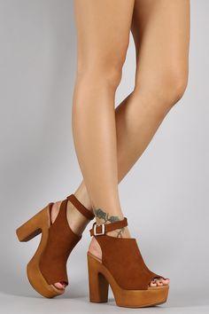 Suede Ankle Buckle Faux Wood Open Toe Heel