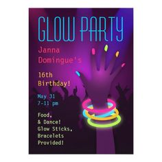 Rave Glow Party Invitations
