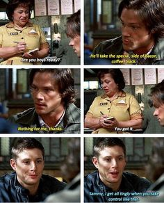 3x11 Mystery Spot ~ how come I feel like they all sat in a room figuring out the multitude of ways to kill Jensen? Because that takes up like half the episode! Seriously, they came up with ways to kill him I never thought possible!
