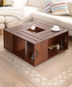 Furniture of America Vintage Walnut Palermo Crate-Style Coffee Table | zulily