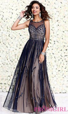 Long Chiffon Illusion Sweetheart Prom Dress at PromGirl.com
