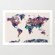 Subway tube metro world map art print living rooms contemporary world map art print by map map maps 1800 gumiabroncs Choice Image