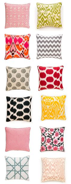 pillows, pillows, and more colorful pillows Textiles, Colorful Pillows, My New Room, Decorating Blogs, Soft Furnishings, Home Decor Accessories, Textile Design, Home Remodeling, Decorative Pillows