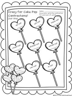 Valentines Day Contraction Game Great for Literacy Centers