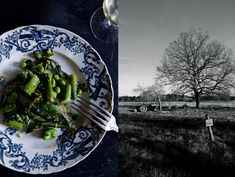 Asparagus with fresh peas, fava beans and herbs and lamb confit w/spices and lemon