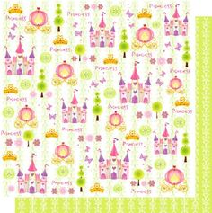 Fairytales 12x12 Double Sided Glittered Scrapbooking Cardstock
