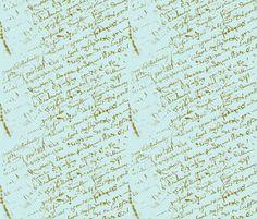 French Script on Tiffany Blue fabric by karenharveycox on Spoonflower - custom fabric. I just love this fabric! Fabric Wallpaper, Custom Wallpaper, French Script, Spoonflower Fabric, Pink Fabric, Tiffany Blue, Large Prints, Surface Design, Custom Fabric