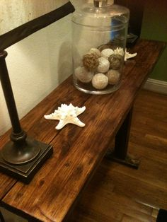 Farmhouse style foyer/sofa table made from upcycled pallet wood  https://www.facebook.com/LHPalletCreations