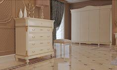 Collezione Carlotta, laccato bianco e foglia oro raffinatissimo