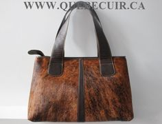 Brindle cowhide handbag. Made by Quebecuir. CA $288