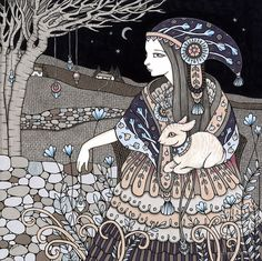 Anita Inverarity | INK on illustration board | Shepherdess