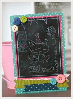 A cute birthday card using a chalkboard technique - Designed by Tamara Tripodi