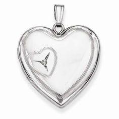 Sterling Silver 24mm Heart Design Locket  #Jewelry #Fashion #Silver #Heart #Locket  http://www.icecarats.com