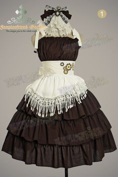 """Airship Pirate"" Embroidery Trimmings Clockwork Cotton JSK Dress Watch Hairdress/Jabot*3color"