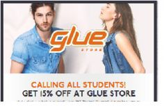 15% off STUDENTS @ Glue Store!