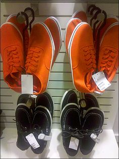 Orange Shoe Cross Sell in Apparel Orange Shoes, Only Shoes, Vans Sk8, Pink And Gold, Designer Shoes, Casual Shoes, High Top Sneakers, Heels, Retail