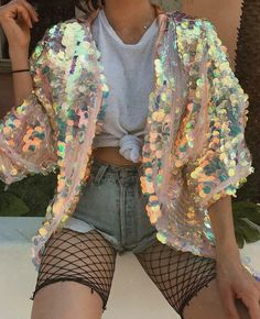 Shine on, you crazy diamond, when you deck yourself out in this delightful, decadent, and disco inspired kimono. Hundreds of iridescent sequins shimme. Festival Tops, Edm Festival, Festival Wear, Festival Fashion, Festival Camping, Cochella Outfits, Rave Outfits, Fashion Outfits, Disco Outfits For Women