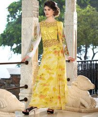 Yellow Color Georgette Unstitched Designer Gown For Wedding : Pritisha Collection YF-32157