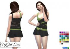Duo Color Wrapped Romper with Belt at NyGirl Sims