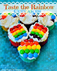 Taste the Rainbow Cupcakes for St. Patrick's Day from MomOnTimeout.com!  #St.Patrick'sDay #recipe #cupcakes