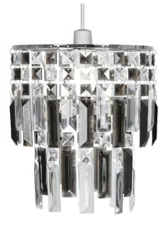 The Oaks Maia is a chandelier style lampshade with smoked and clear acrylic prisms suspended from a chrome frame. To be used with a ceiling pendant. Available in other colours, see luxurylighting.co.uk.