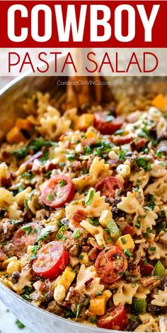 Cowboy Pasta Salad with the BEST Dressing! up close of Cowboy Pasta Salad with ground beef, black beans, corn, tomatoes and barbecue sauce in a metal bowl Beef Recipes, Cooking Recipes, Healthy Recipes, Family Recipes, Yummy Recipes, Shrimp Recipes, Copycat Recipes, Easy Cooking, Healthy Meals