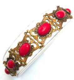 Art Deco Red Czech Glass Bracelet Brass Tone by Vintageimagine
