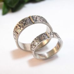 Silver Wedding Band Set Wedding Ring Set by DownToTheWireDesigns