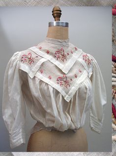1900s Edwardian Embroidered Cream Cotton Blouse with Birds and Butterflies  - was on Etsy Past Perfect Vintage