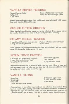 nice Vintage Recipes: 1964 Cakes, Cookies and Frostings Cake Frosting Recipe, Butter Frosting, Cookie Frosting, Cake Icing, Eat Cake, Fudge Frosting, Buttercream Frosting, Vanilla Frosting, Crisco Frosting