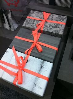 Neon Ribbon, nature-patterned wrapping paper in black and white