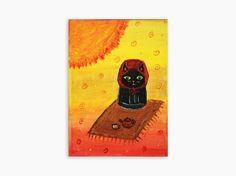 Original Painting, Whimsical Cat Art, Cat Painting, Cat Art, Cat Illustration, Acrylic Cat Art, Modern Cat Art, Contemporary Cat Art - pinned by pin4etsy.com