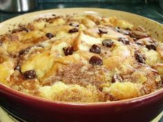 Chocolate chip bread pudding. A devilish way to use up stale bread.