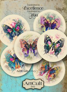 MAGIC BUTTERFLIES - Digital Collage Sheet 2.5 inch Printable circles for Pocket Mirrors, Magnets, Paper Weights