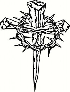 Vinyl Cross with Crown of Thorns by BigDDesign on Etsy Wood Burning Patterns, Wood Burning Art, Thorn Tattoo, Cross Drawing, Cross Tattoo Designs, Tribal Cross Tattoos, Cross Designs, Christ Tattoo, Crown Of Thorns