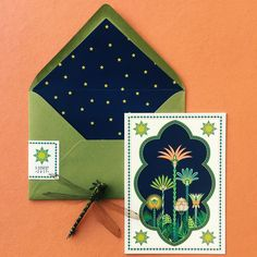 Greeting card with palm trees in a starry night from Fanfare Paper Goods