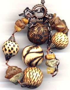 Amber and  Wooden Necklace Wood burned Handmade Beads by Annaart72, $40.00