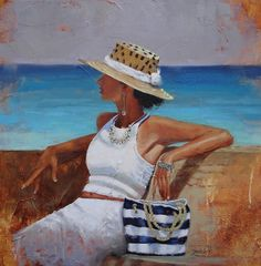 """Award winning artist* Laura Lee Zanghetti is a self taught artist who mainly works in oils. Her favorite subjects vary from beach scenes to cityscapes and her latest.... """"umbrella ladies"""". She's been painting full time for the past 13 years in her home studio in Walpole. Laura has won many awards* including First Place at Canton's Spring Show 2011 and Best of Show and First Place at the Art in the Park Show in Norwood."""