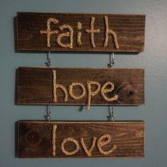 Faith, Hope, Love Rustic Rope Wall Hang Sign on Etsy, $20.00