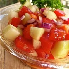 Tomato Cucumber Onion Salad. Like grandma Tyler used to make. Reviewers suggest adding a little sugar.