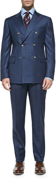 Isaia Double-Breasted Stripe Suit, Blue