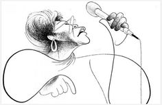 "Al Hirschfeld: Ella Fitzgerald, 1993 (ink on board). Currently on exhibit at the New York Historical Society's ""The Hirschfeld Century: The Art of Al Hirschfeld"" thru 2015/10/12. AlHirschfeldFoundation.org nyhistory.org/"