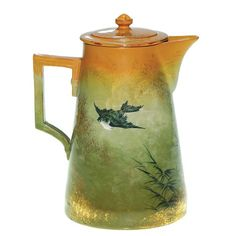 1885 Rookwood teapot by Martin Rettig. Good early Rookwood Limoges glaze, with clear Asian influence.