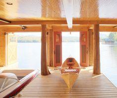 Adirondack boathouse interior - Cabin Life Magazine