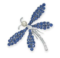 Lot 200 - A DIAMOND, SAPPHIRE AND CULTURED PEARL DRAGONFLY BROOCH, BY VAN CLEEF & ARPELS