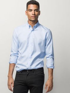 SKY BLUE SHIRT WITH CHECKED ELBOW PATCH - View all - Casual shirts - MEN - United Kingdom