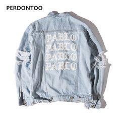 2017 Newest TOP Oversized Jacket I FEEL LIKE PABLO Denim Coats Hiphop Broken Hole Jean Jacket
