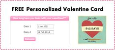 Free printable card celebrating number of days you've been with your sweetheart