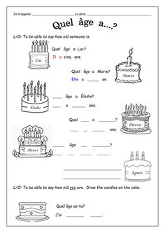 FRENCH - How old are you? - Quel âge as-tu? et C'est quand ton anniversaire? - Worksheets by labellaroma - Teaching Resources - Tes French Flashcards, French Worksheets, Learn French Fast, How To Speak French, French Teacher, Teaching French, Cooking In The Classroom, French Course, French Grammar