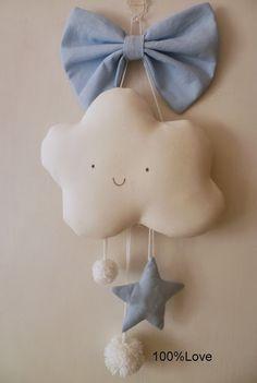 Fiocco nascita nuvoletta bebè - 100%LOVE